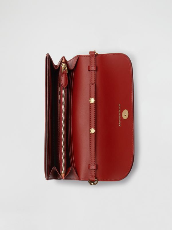 Vintage Check and Leather Wallet with Detachable Strap in Crimson - Women | Burberry Australia - cell image 3
