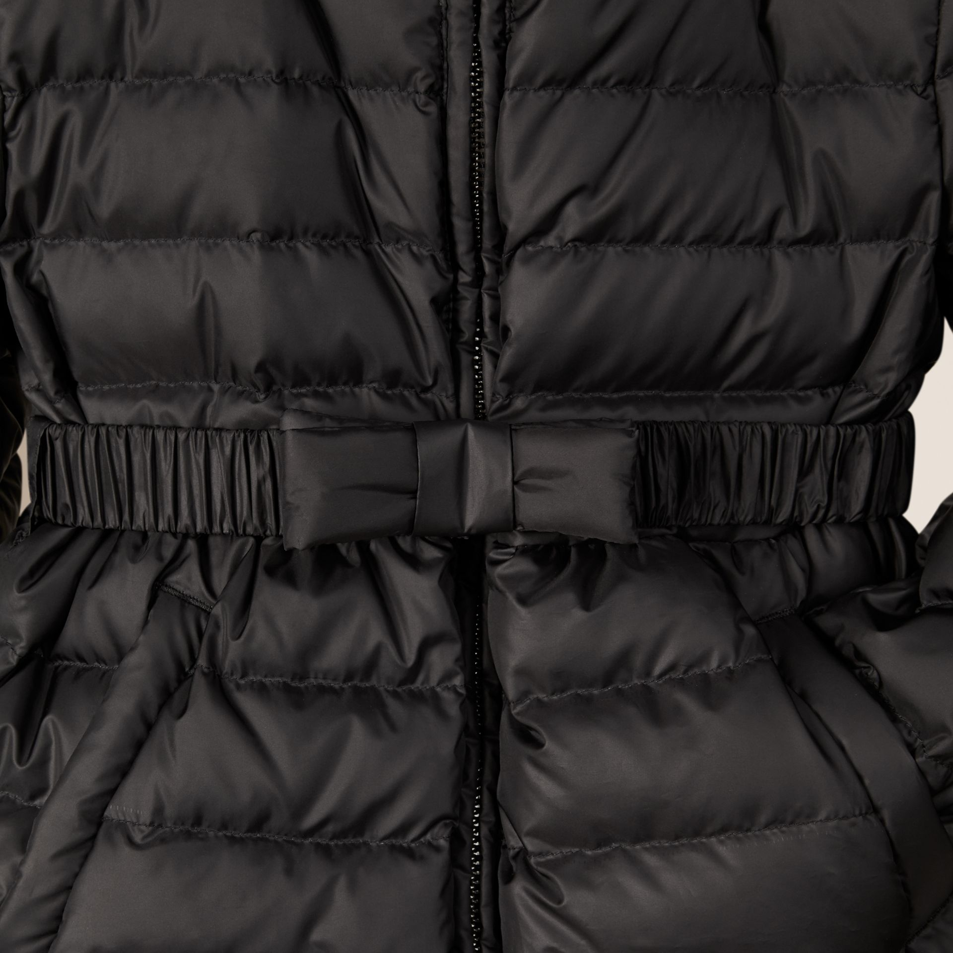Black Bow Detail Puffer Jacket Black - gallery image 2