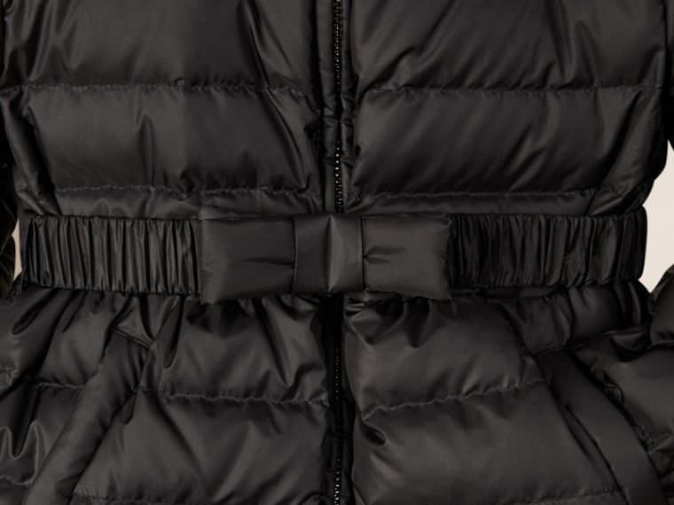 Black Bow Detail Puffer Jacket - cell image 1