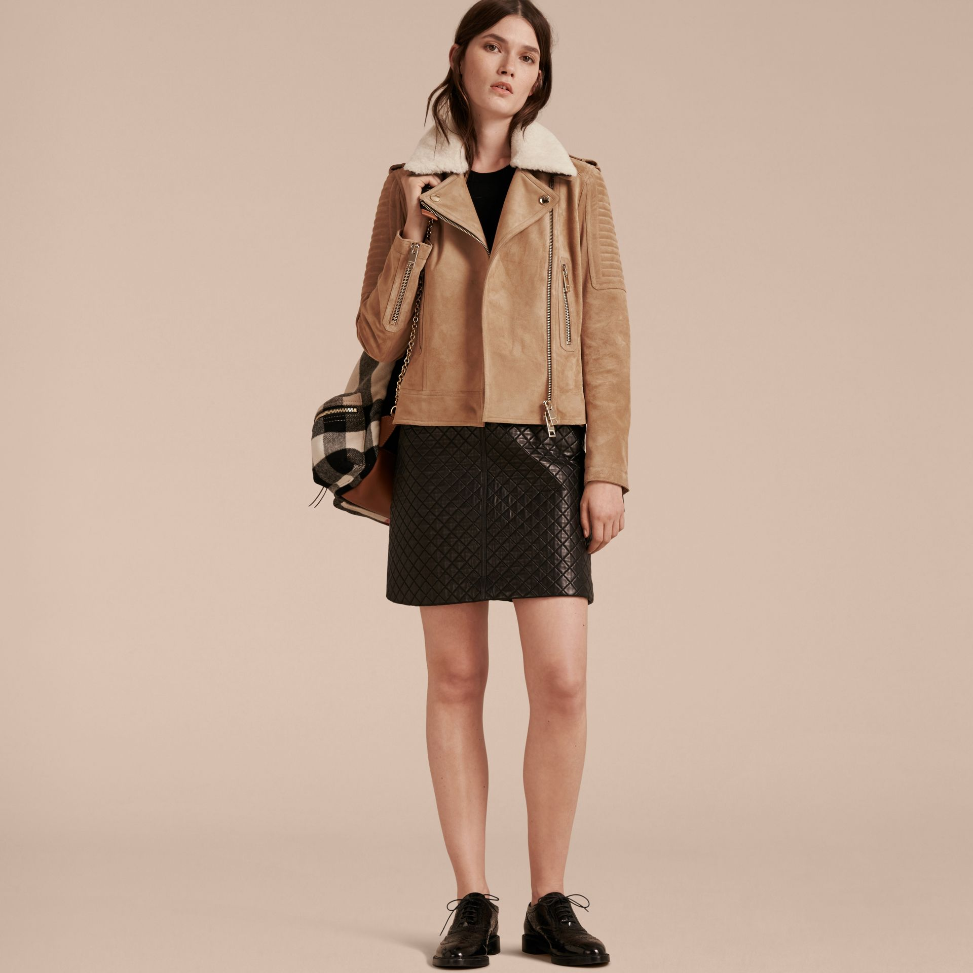 Honey Suede Biker Jacket with Shearling Collar - gallery image 7