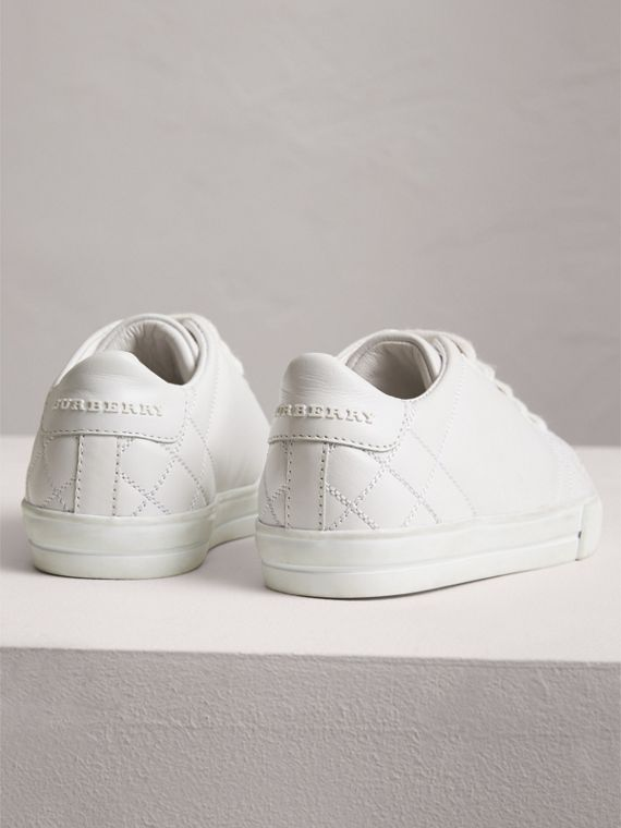 Check Detail Leather Sneakers in Optic White | Burberry Australia - cell image 2