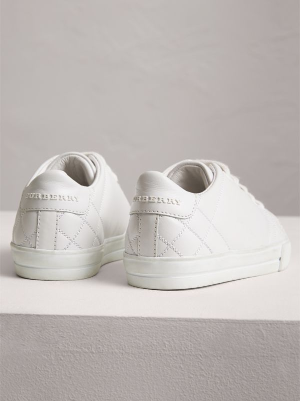 Check Detail Leather Sneakers in Optic White | Burberry - cell image 2
