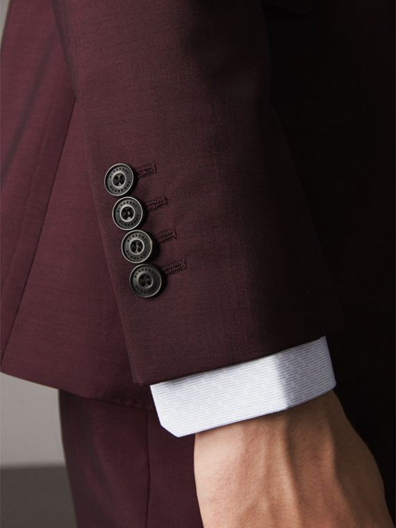 Slim Fit Wool Mohair Suit in Oxblood - cell image 2