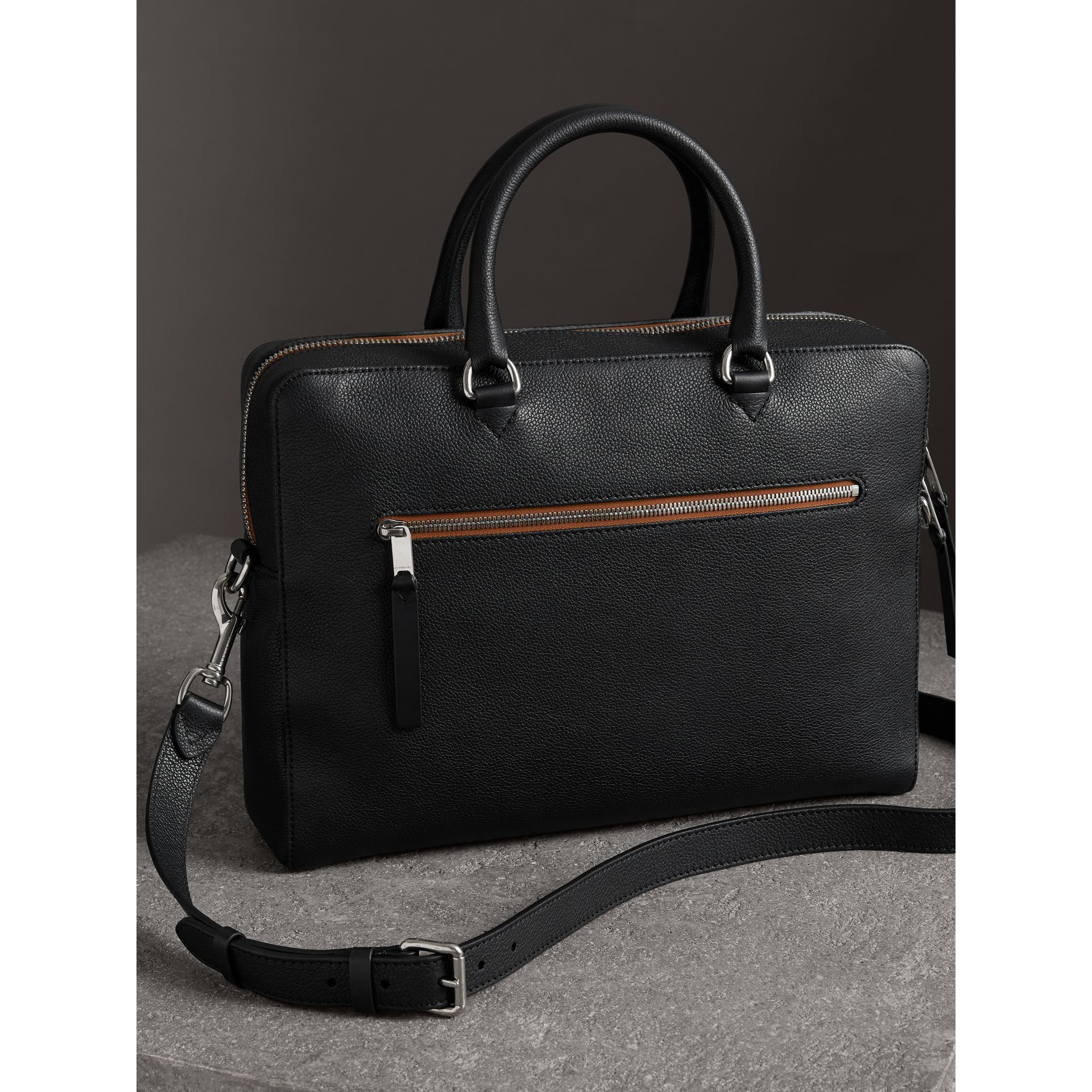 Grainy Leather Briefcase in Black - Men | Burberry - gallery image 3