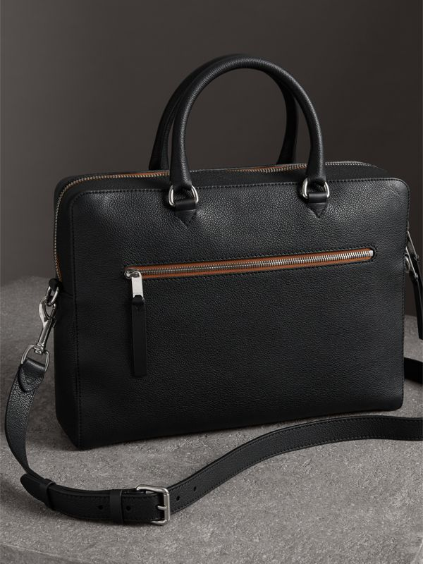 Grainy Leather Briefcase in Black - Men | Burberry United States - cell image 3