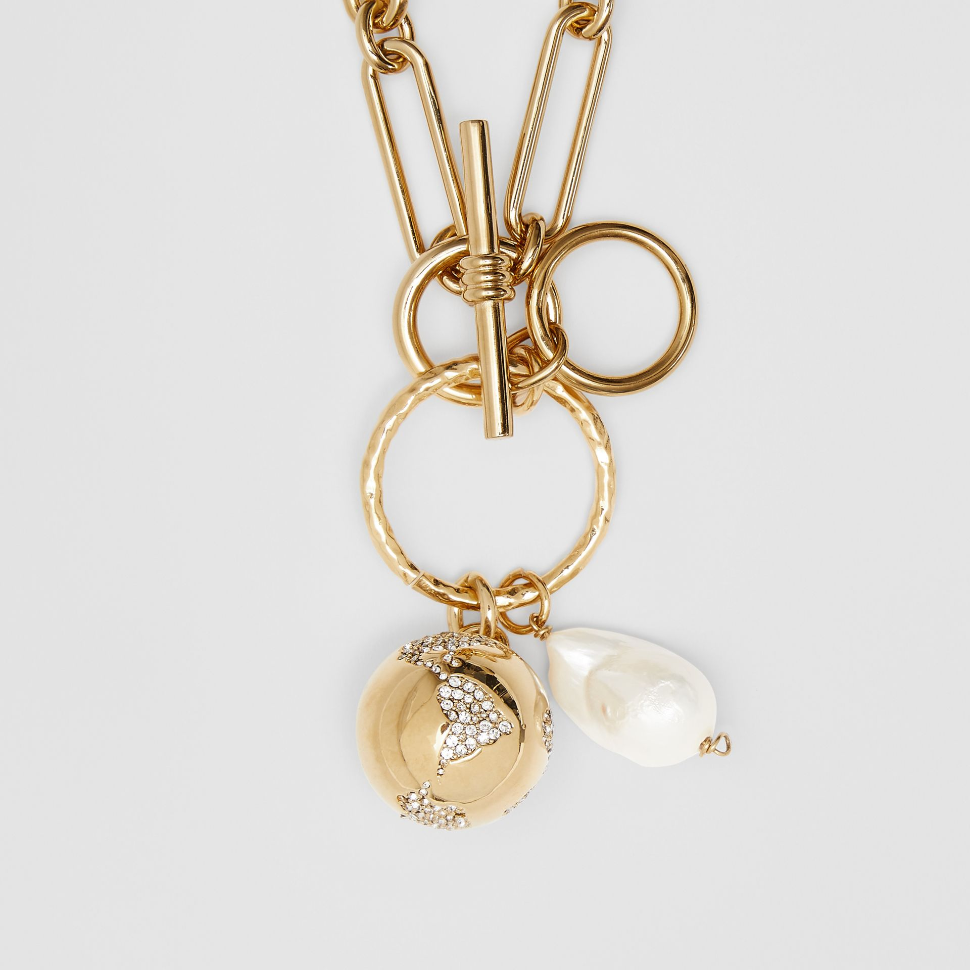 Faux Pearl Charm Gold-plated Chain Necklace in Light - Women | Burberry - gallery image 1