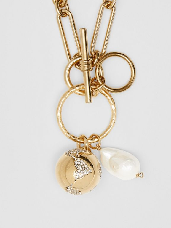 Faux Pearl Charm Gold-plated Chain Necklace in Light - Women | Burberry - cell image 1