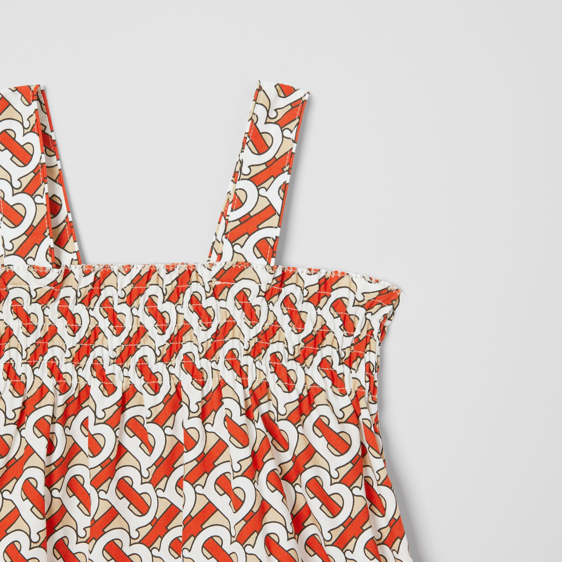 Smocked Monogram Print Cotton Poplin Dress in Vermilion Red - Children | Burberry - gallery image 4