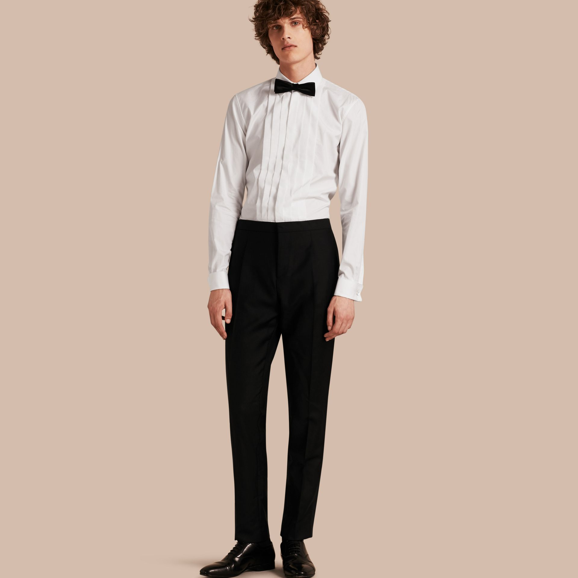 Modern Fit Wool Mohair Tuxedo Trousers in Black - Men | Burberry - gallery image 1