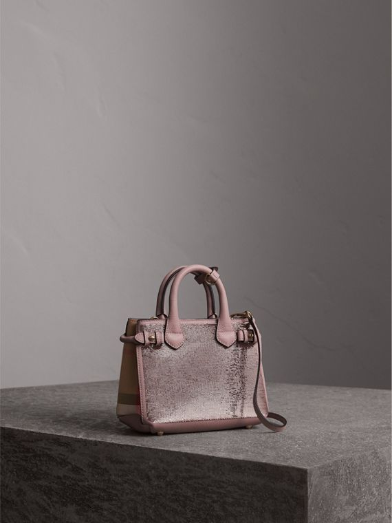 The Baby Banner in Sequins, Check and Leather in Pale Orchid - Women | Burberry