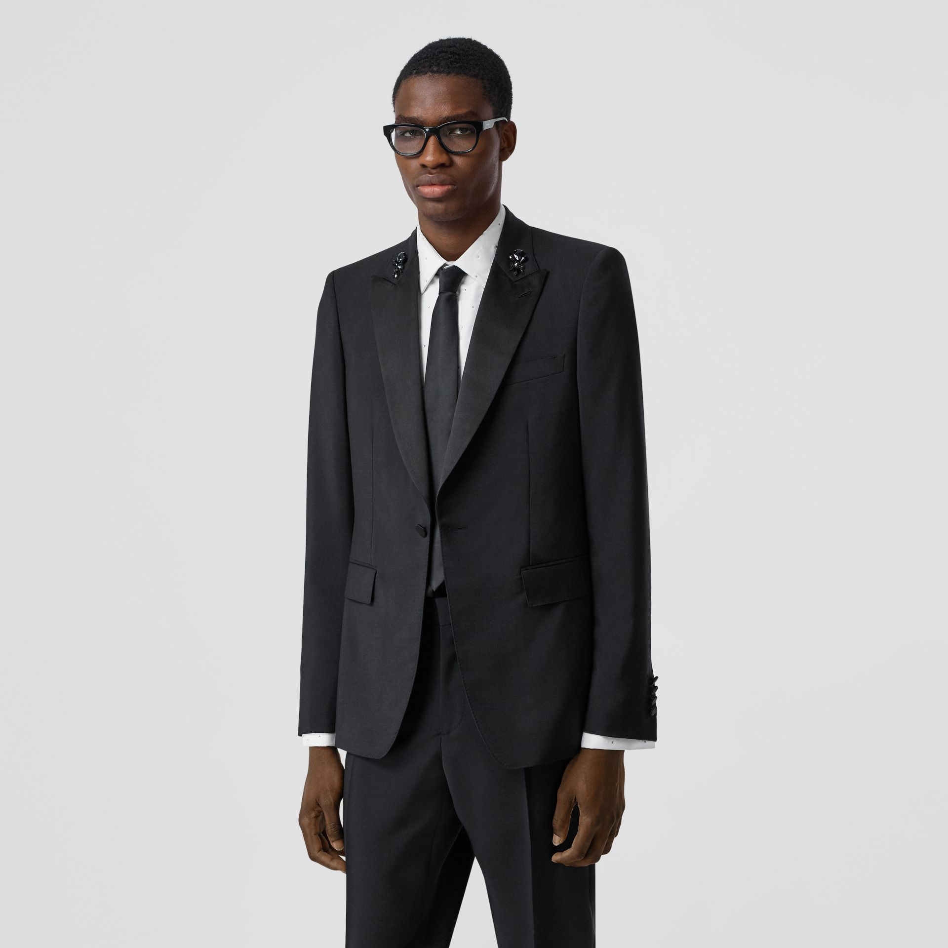 English Fit Embellished Mohair Wool Tuxedo Jacket in Black - Men | Burberry - gallery image 0