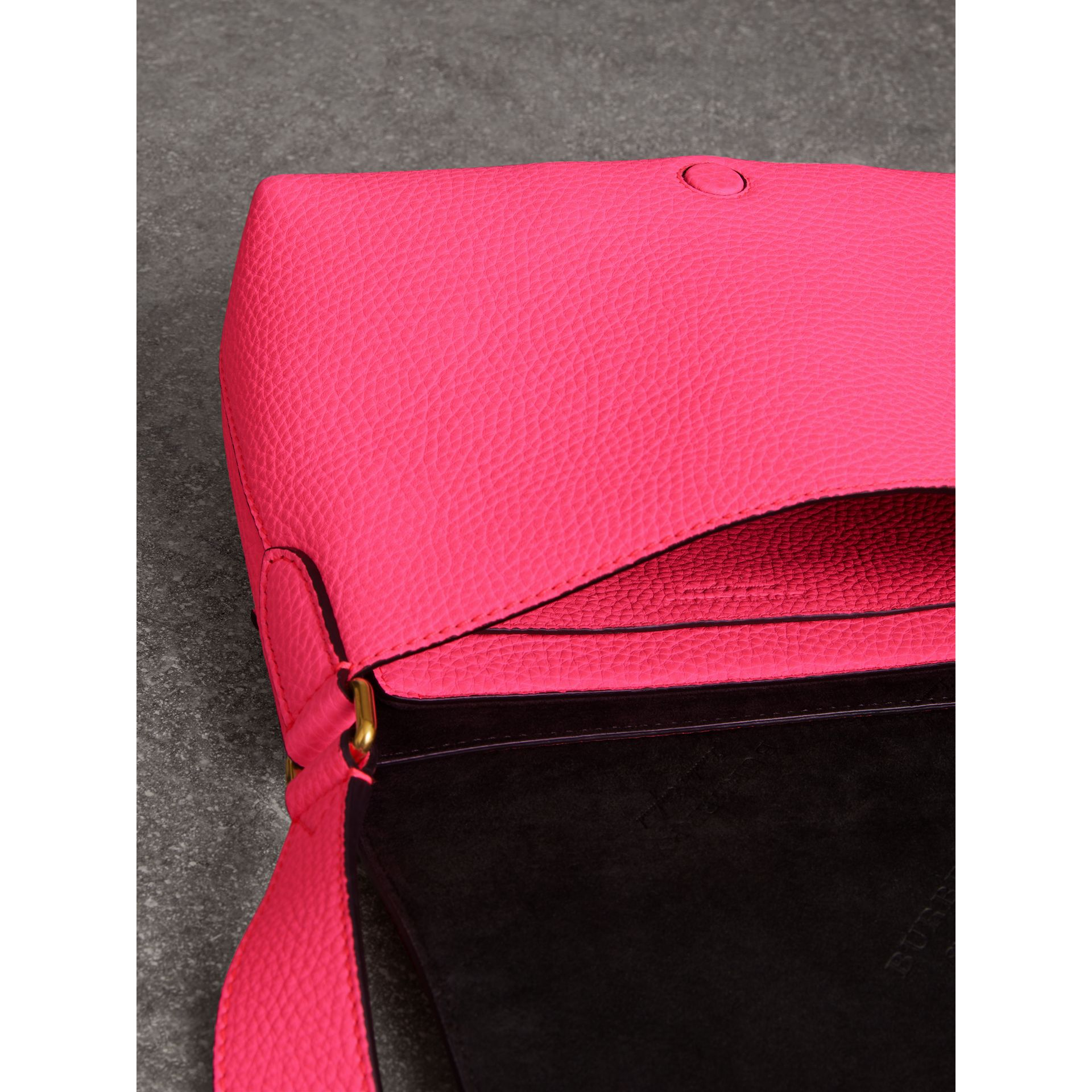 Small Embossed Neon Leather Messenger Bag in Pink - Women | Burberry United States - gallery image 3