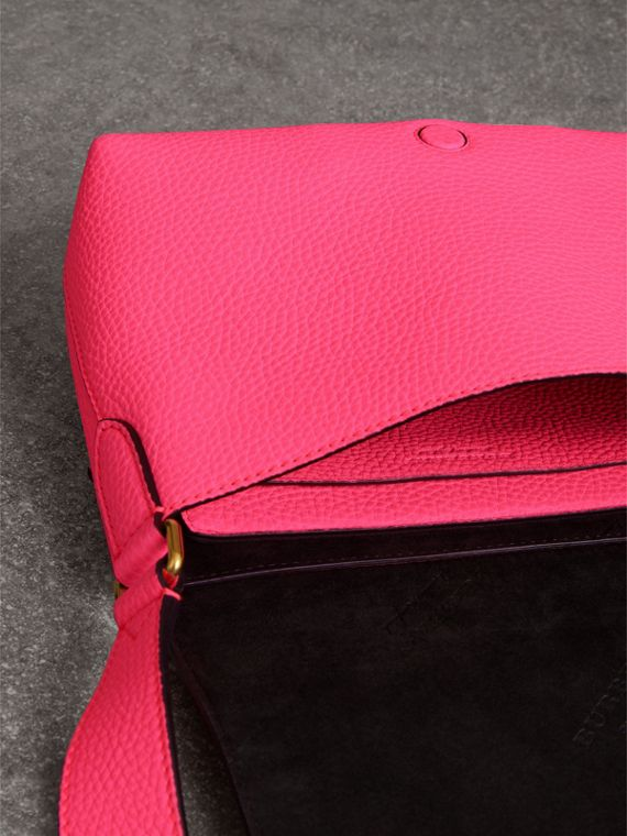 Small Embossed Neon Leather Messenger Bag in Pink - Women | Burberry United States - cell image 3
