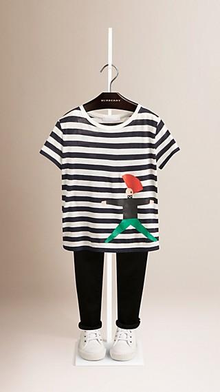 Gestreiftes Baumwoll-T-Shirt mit Punkmotiv
