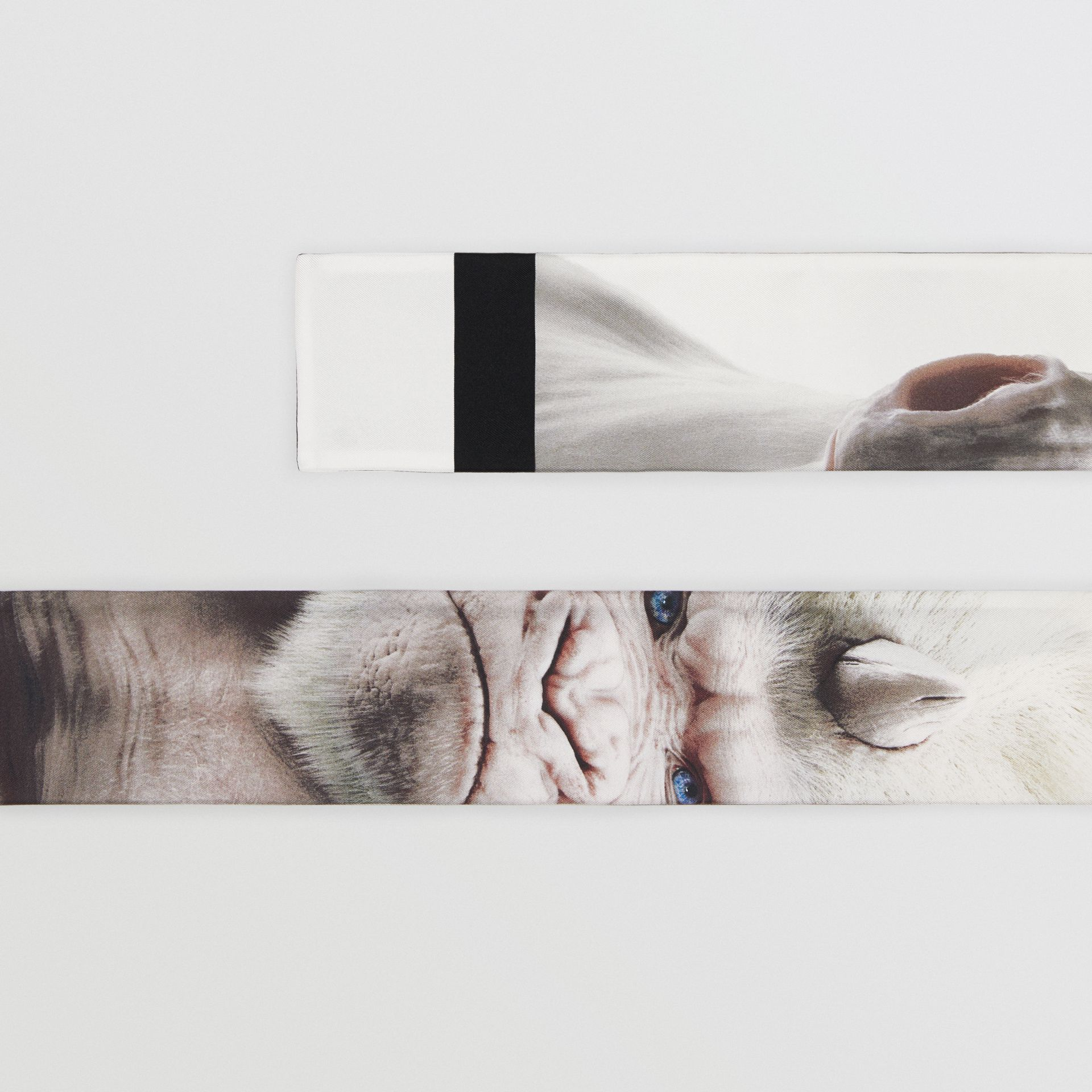 Montage Print Silk Skinny Scarf in White | Burberry United Kingdom - gallery image 1