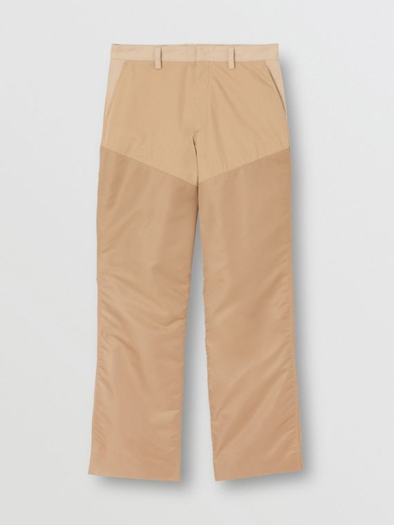 Calças estilo pantalona de algodão com recorte em nylon (Mel)