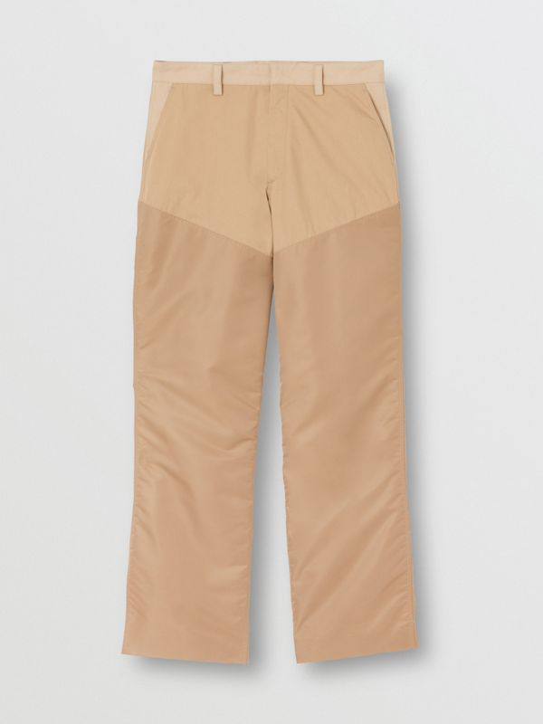 Nylon Panel Cotton Blend Wide-leg Trousers in Honey - Men | Burberry - cell image 3