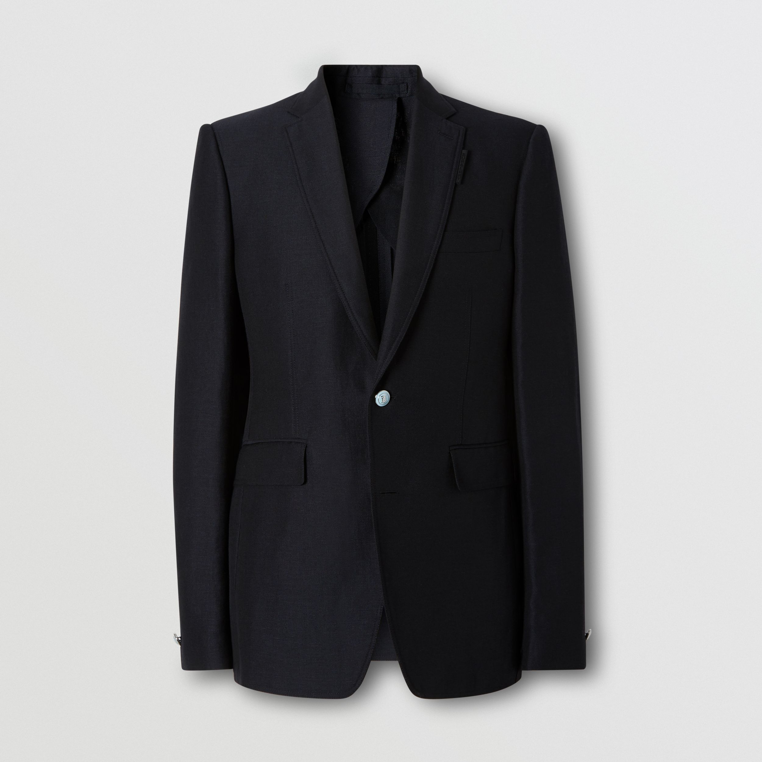 Classic Fit Wool Linen Mohair Tailored Jacket in Dark Navy - Men | Burberry - 4