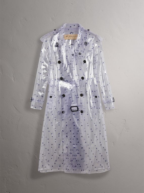 Polka-dot Plastic Trench Coat – Online Exclusive in Navy - Women | Burberry - cell image 3