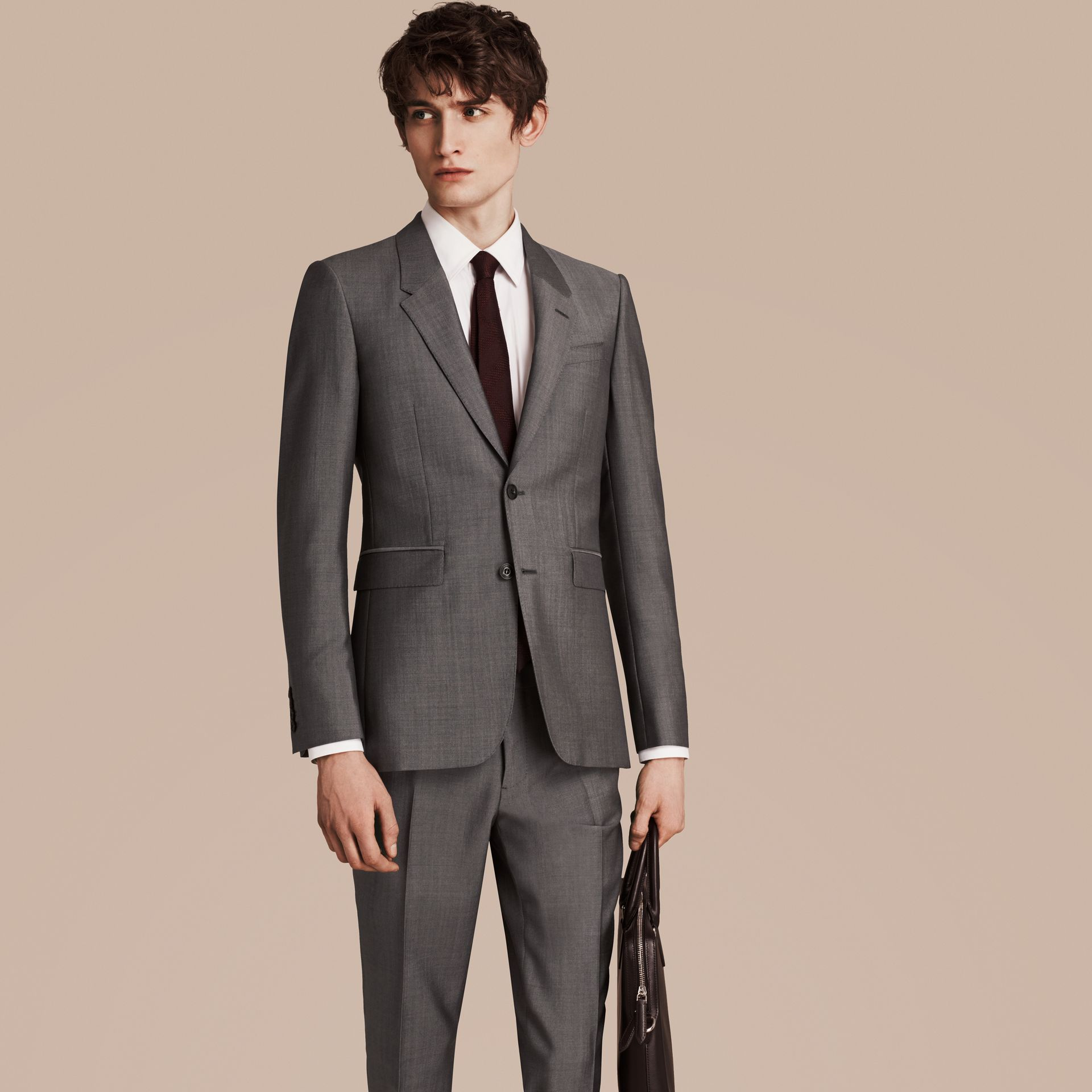 Mid grey The Chelsea – Slim Fit Wool Mohair Suit Mid Grey - gallery image 6