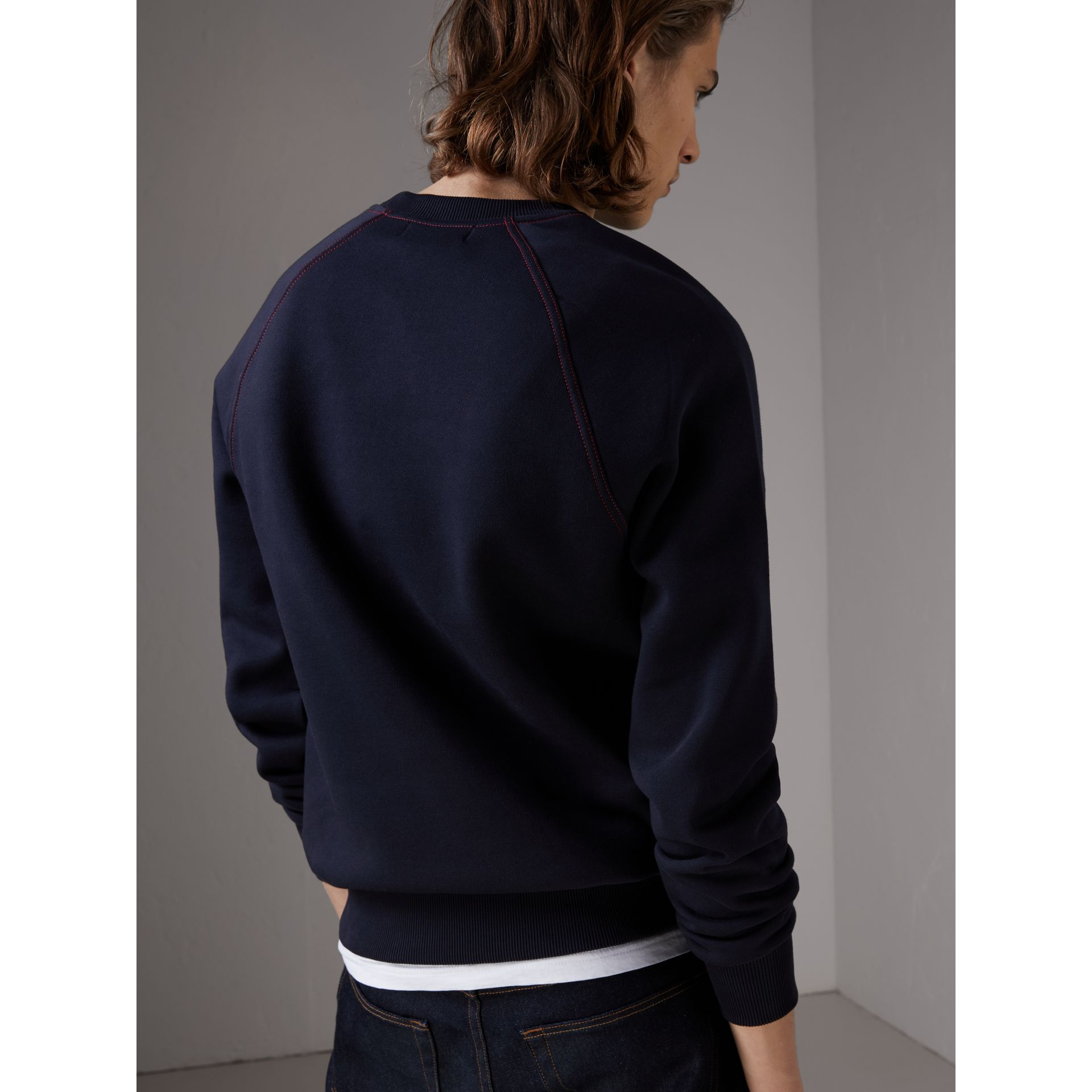 Embroidered Jersey Sweatshirt in Navy - Men | Burberry United Kingdom - gallery image 2