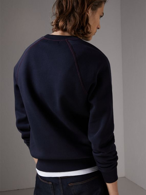 Embroidered Jersey Sweatshirt in Navy - Men | Burberry United Kingdom - cell image 2
