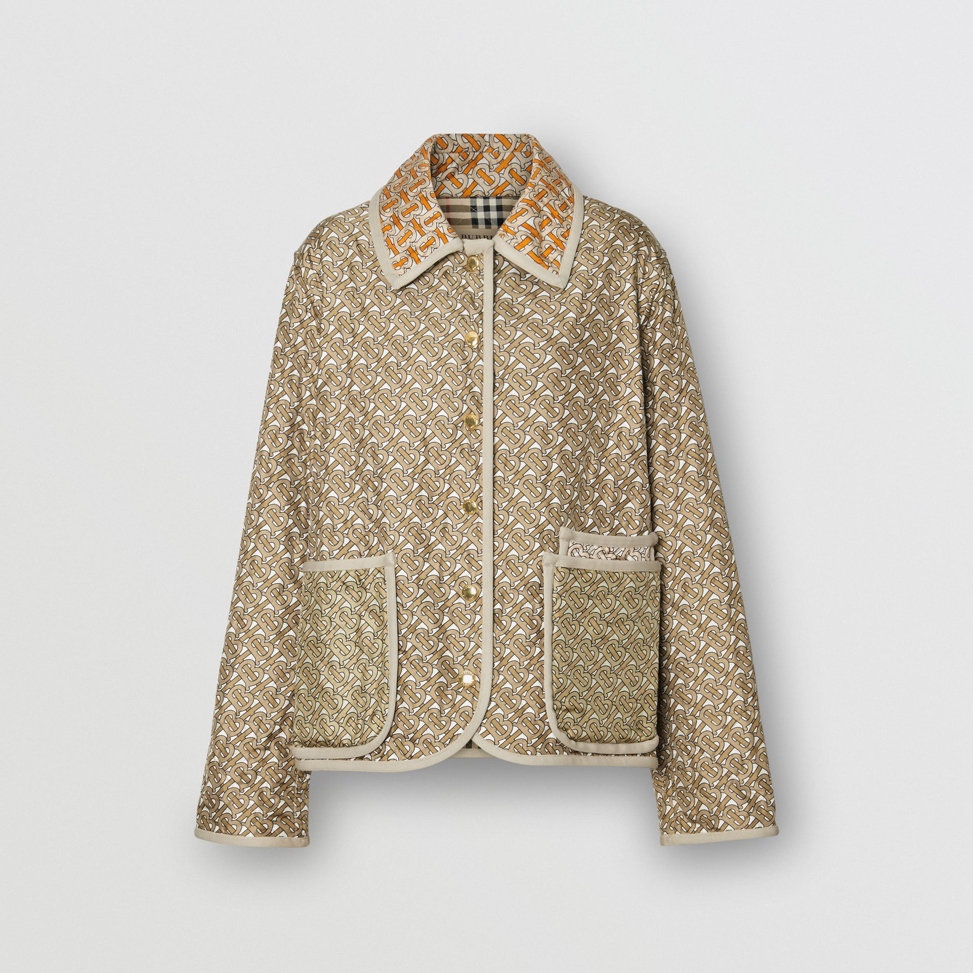 Monogram Print Quilted Silk Jacket in Archive Beige - Women | Burberry - gallery image 3