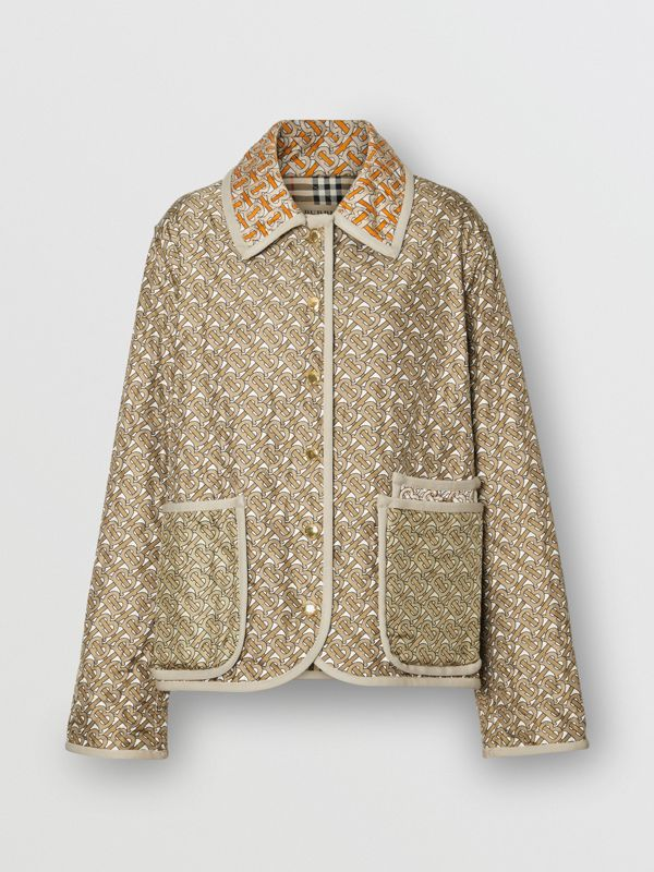 Monogram Print Quilted Silk Jacket in Archive Beige - Women | Burberry - cell image 3