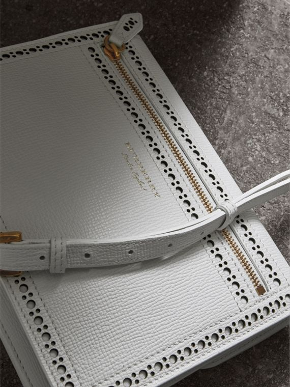 Brogue and Fringe Detail Leather Crossbody Bag in Chalk White - Women | Burberry - cell image 3