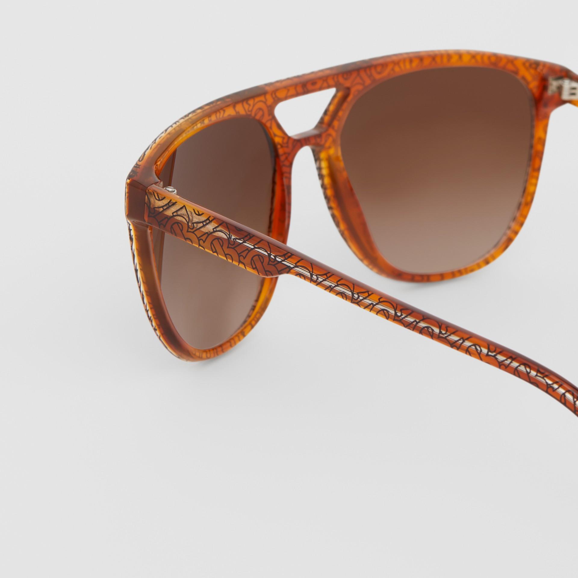 Navigator Sunglasses in Tortoiseshell Amber - Men | Burberry - gallery image 1