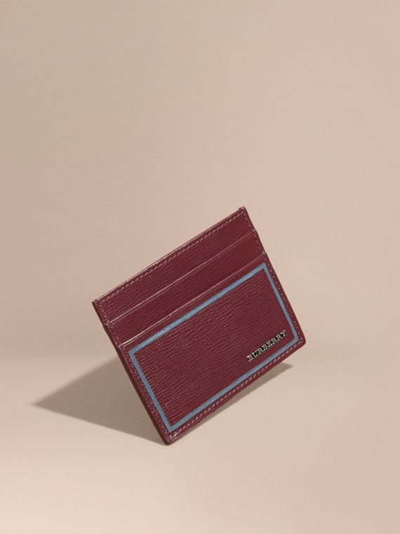 Contrast Corner London Leather Card Case Burgundy Red