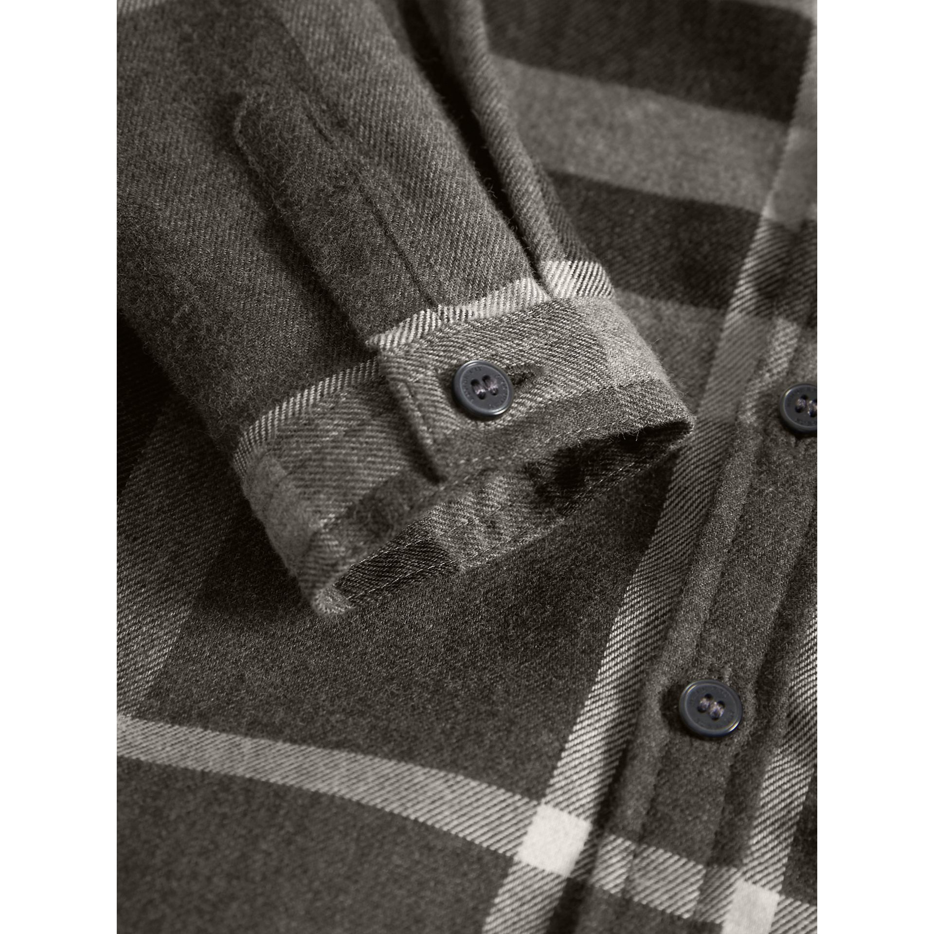 Button-down Collar Check Cotton Shirt in Dark Grey Melange | Burberry - gallery image 2