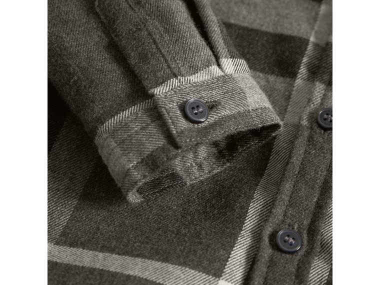 Button-down Collar Check Cotton Shirt in Dark Grey Melange | Burberry - cell image 1