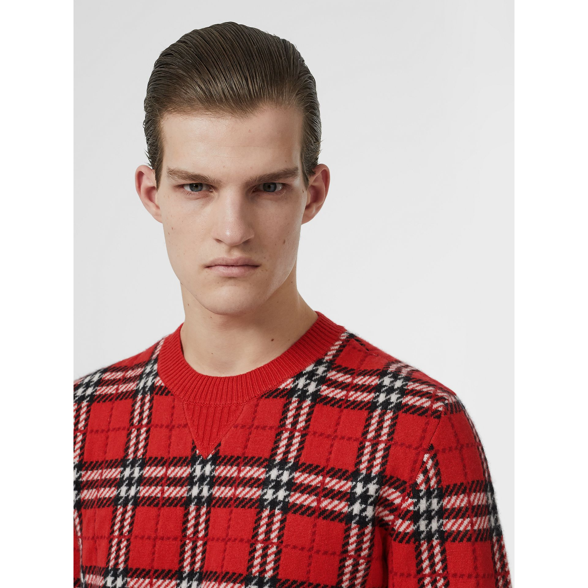 Check Cashmere Jacquard Sweater in Parade Red - Men | Burberry - gallery image 1
