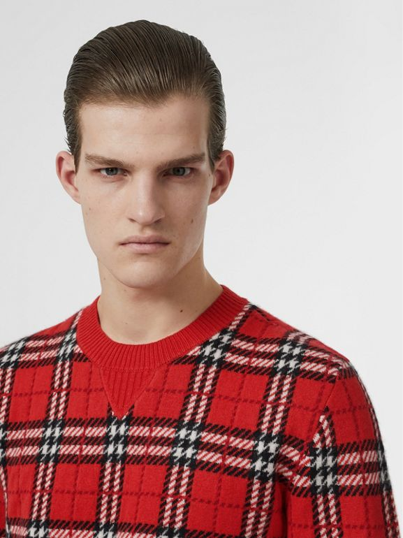 Check Cashmere Jacquard Sweater in Parade Red - Men | Burberry - cell image 1