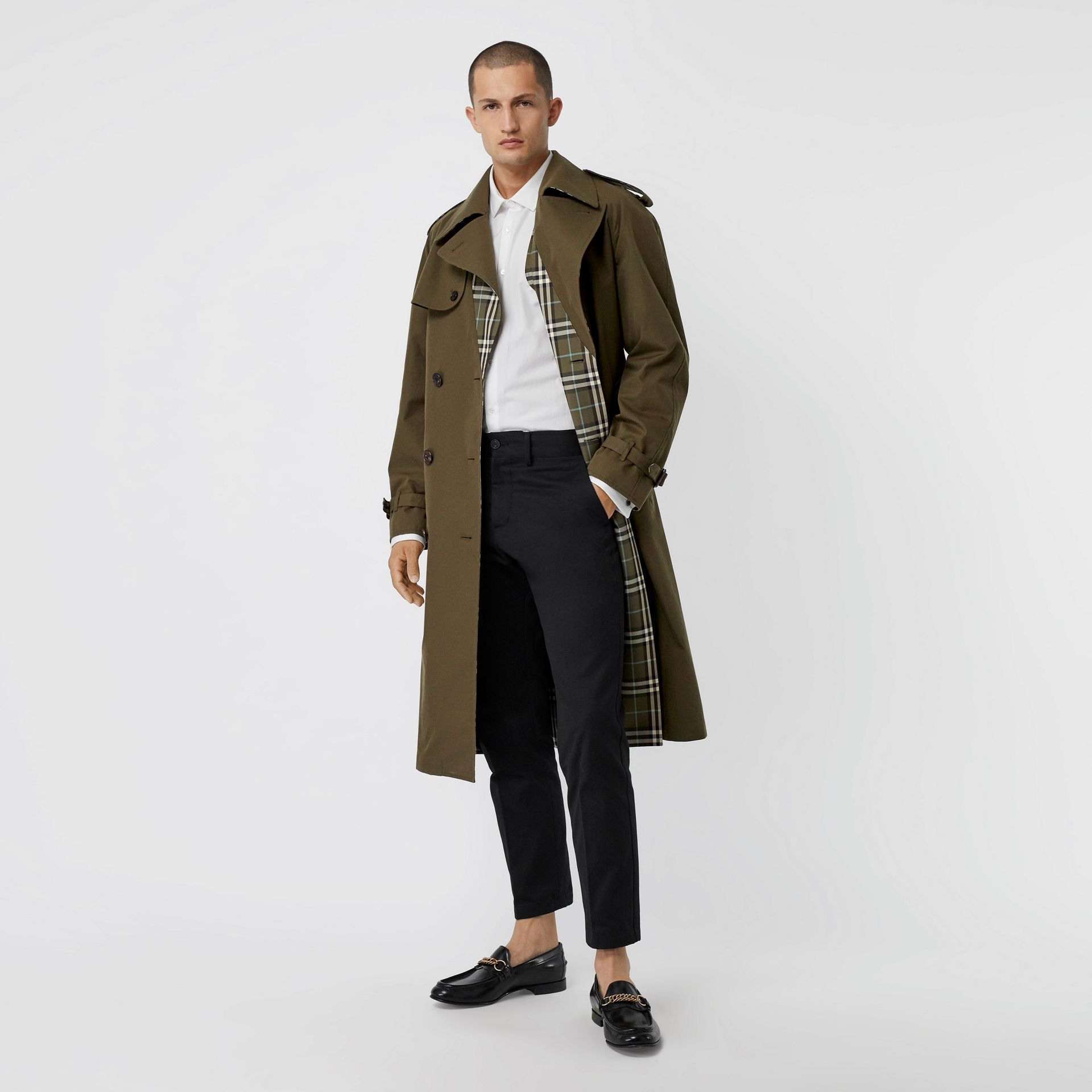 Reversible Tropical Gabardine and Check Trench Coat in Olive Green - Men | Burberry United Kingdom - gallery image 0