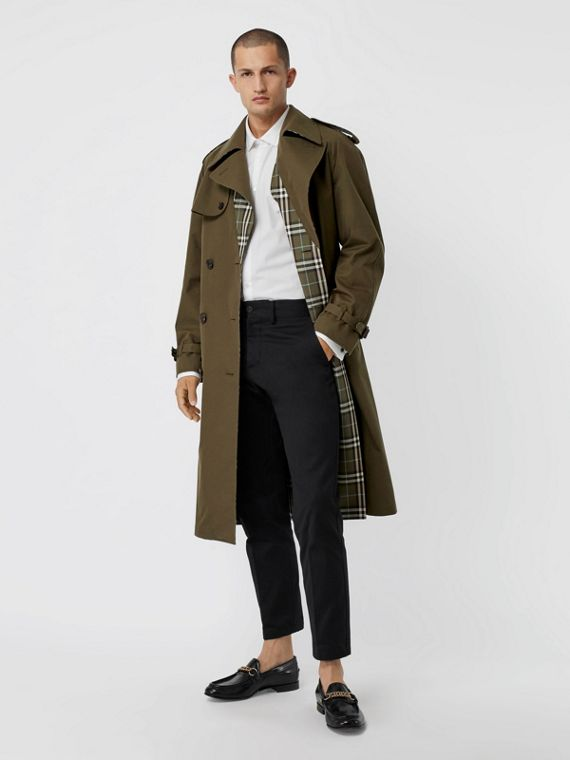 Reversible Tropical Gabardine and Check Trench Coat in Olive Green