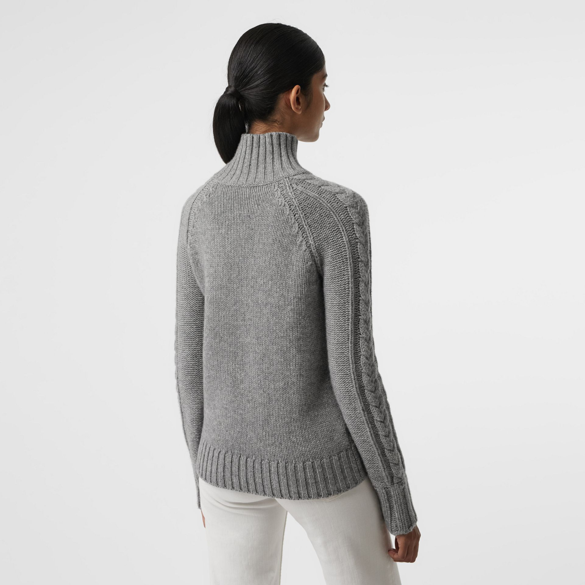 Cable Knit Cashmere Turtleneck Sweater in Mid Grey Melange - Women | Burberry Singapore - gallery image 2