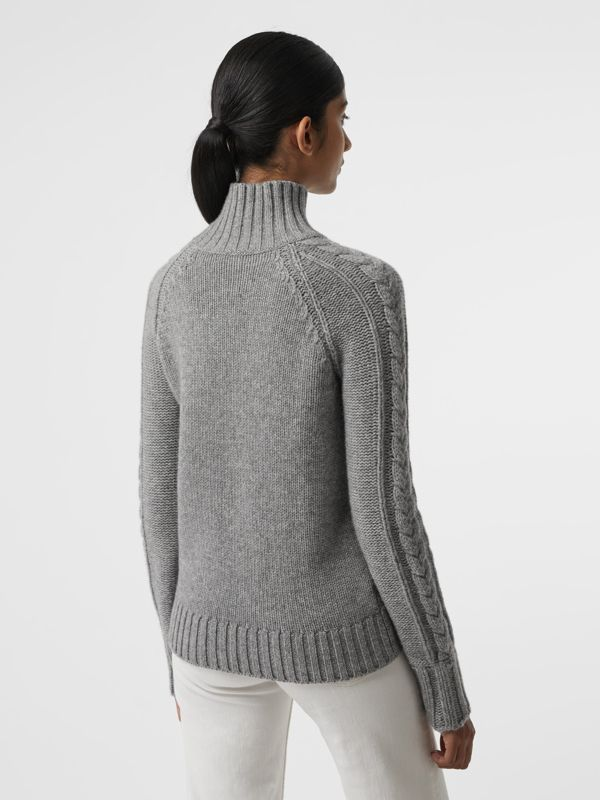Cable Knit Cashmere Turtleneck Sweater in Mid Grey Melange - Women | Burberry Singapore - cell image 2