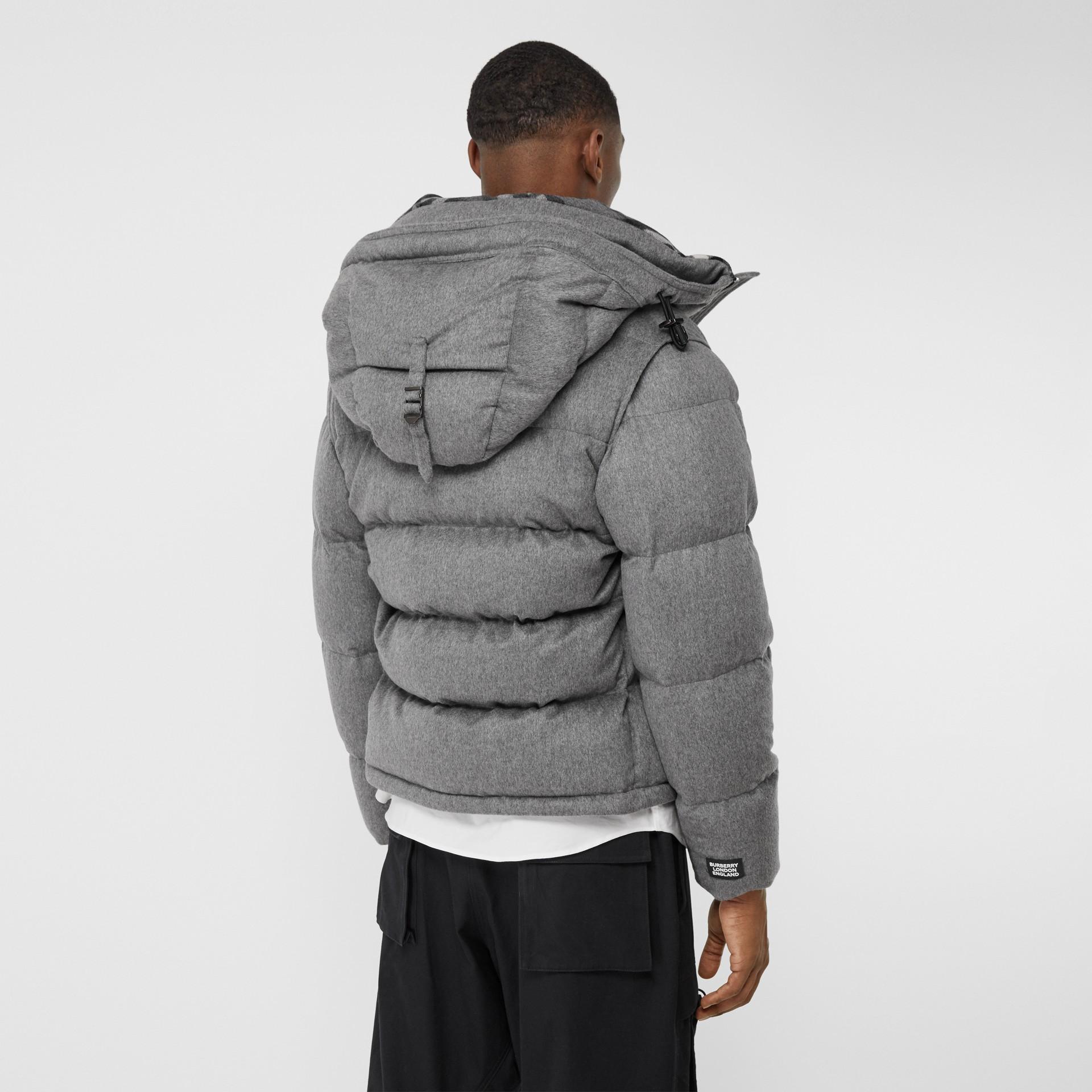 Detachable Sleeve Cashmere Hooded Puffer Jacket in Mid Grey Melange - Men   Burberry United Kingdom - gallery image 2