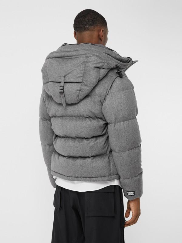 Detachable Sleeve Cashmere Hooded Puffer Jacket in Mid Grey Melange - Men   Burberry United Kingdom - cell image 2