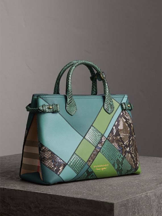 The Medium Banner in Patchwork Leather and Python in Celadon Blue
