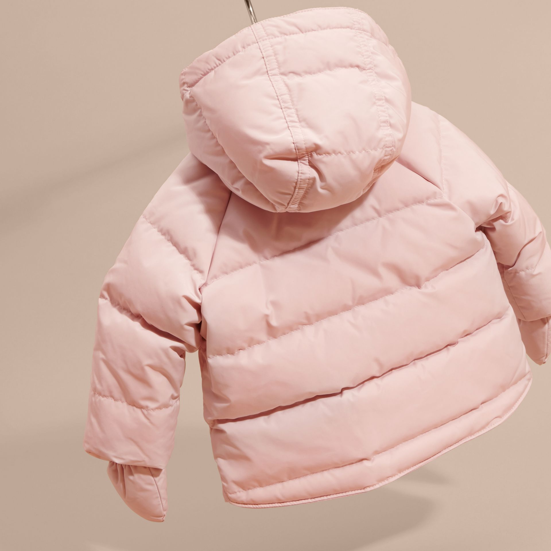 Hooded Down-filled Puffer Jacket with Mittens Powder Pink - gallery image 4