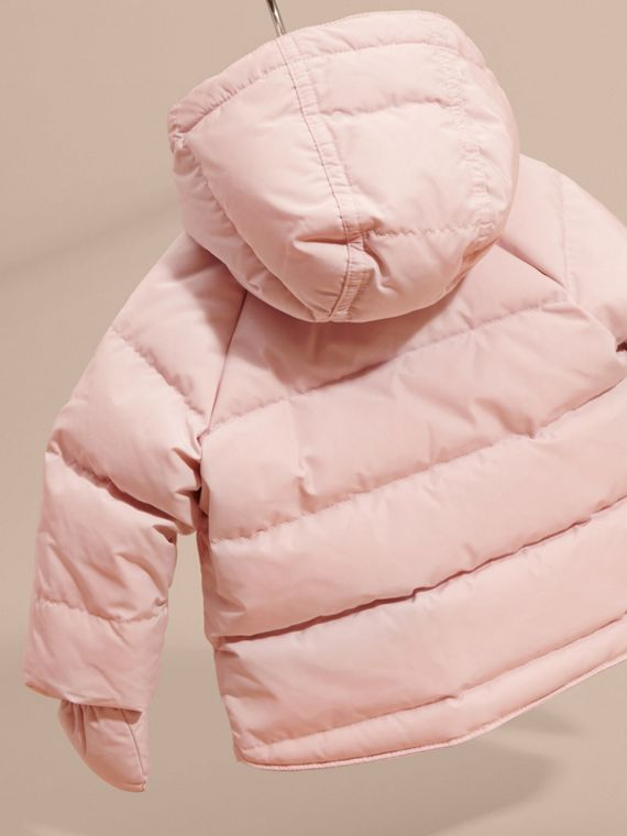 Powder pink Hooded Down-filled Puffer Jacket with Mittens Powder Pink - cell image 3