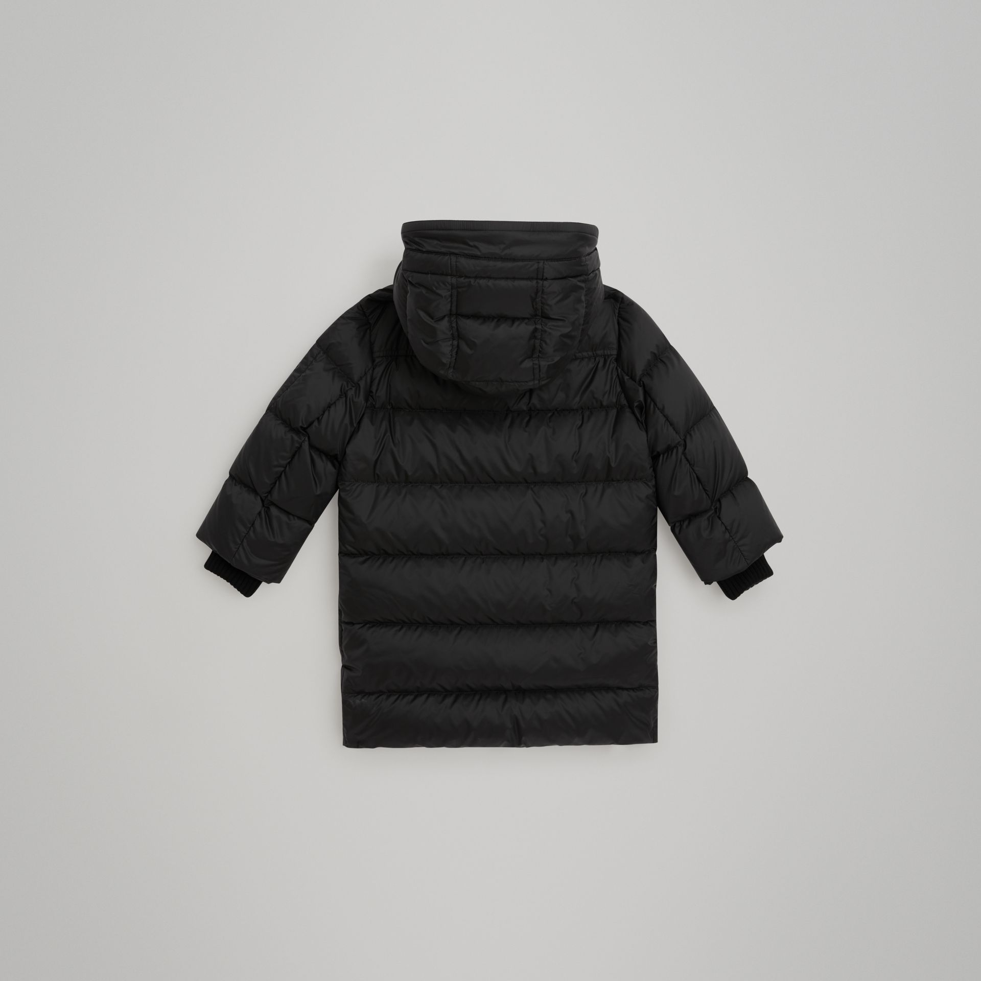 Detachable Hood Down-filled Puffer Coat in Black | Burberry United States - gallery image 3