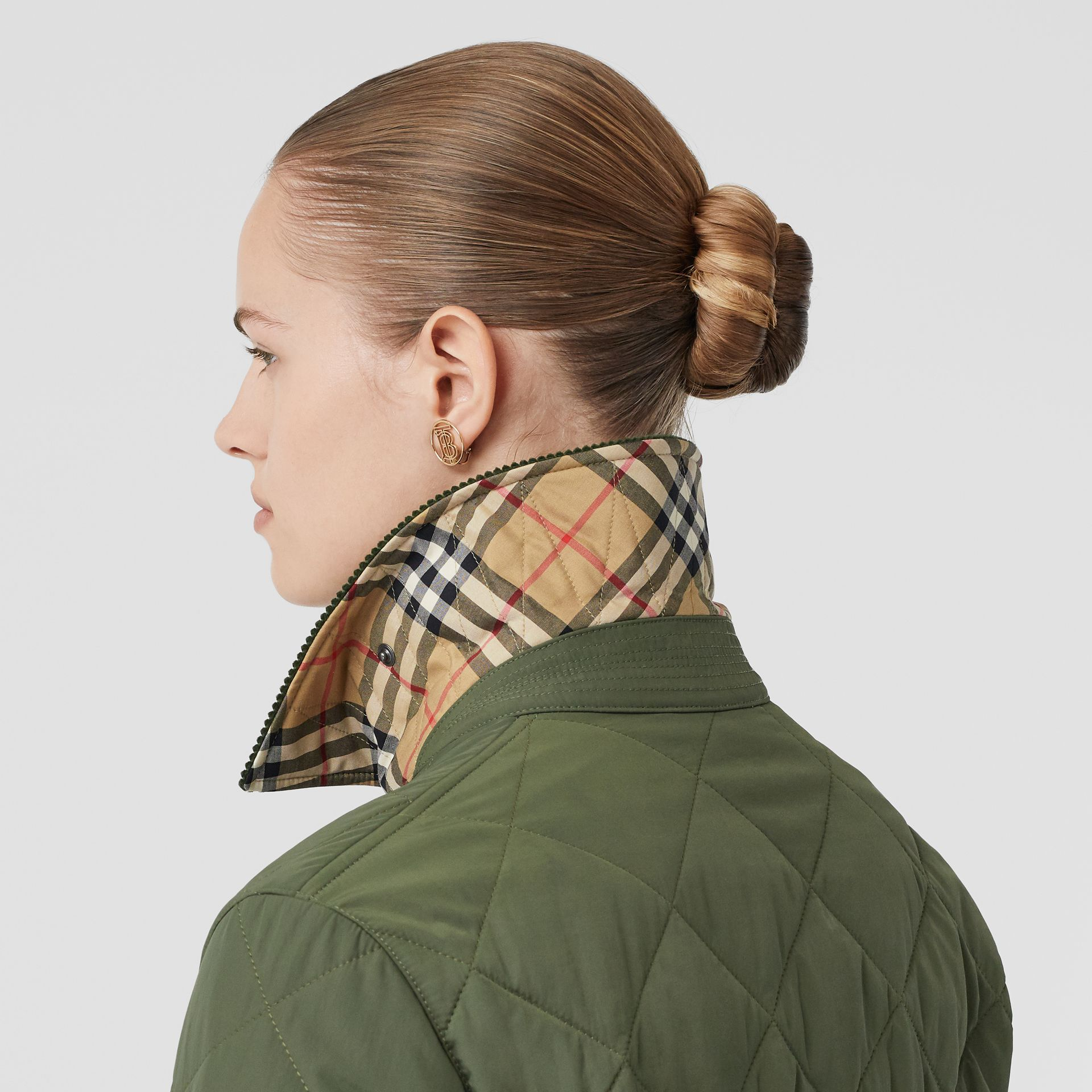 Diamond Quilted Thermoregulated Barn Jacket in Poplar Green - Women | Burberry - gallery image 4