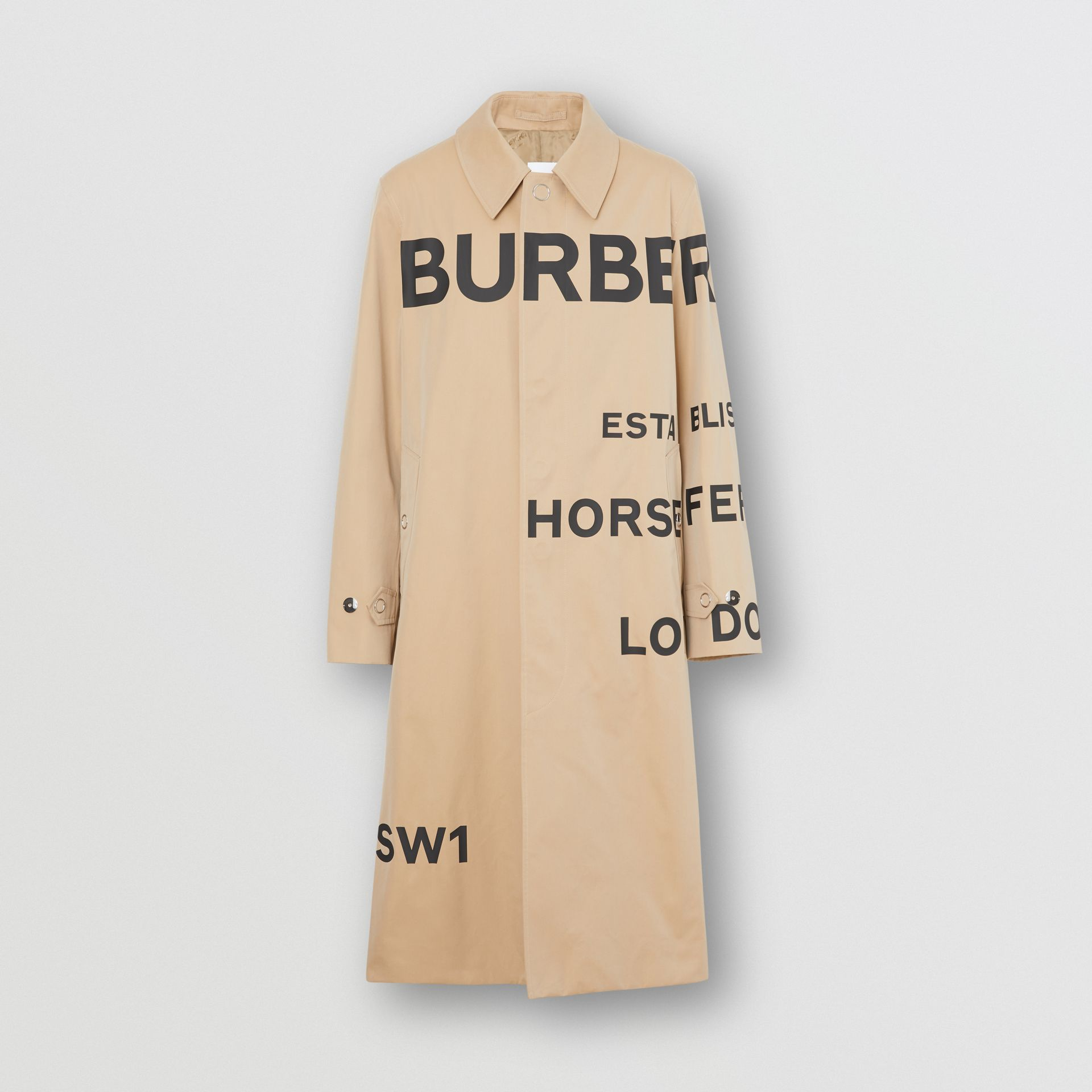 Horseferry Print Cotton Gabardine Car Coat in Honey - Men | Burberry United Kingdom - gallery image 3