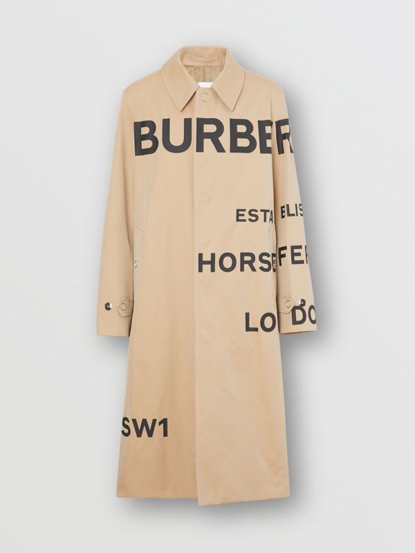 Horseferry Print Cotton Gabardine Car Coat in Honey - Men | Burberry - cell image 3