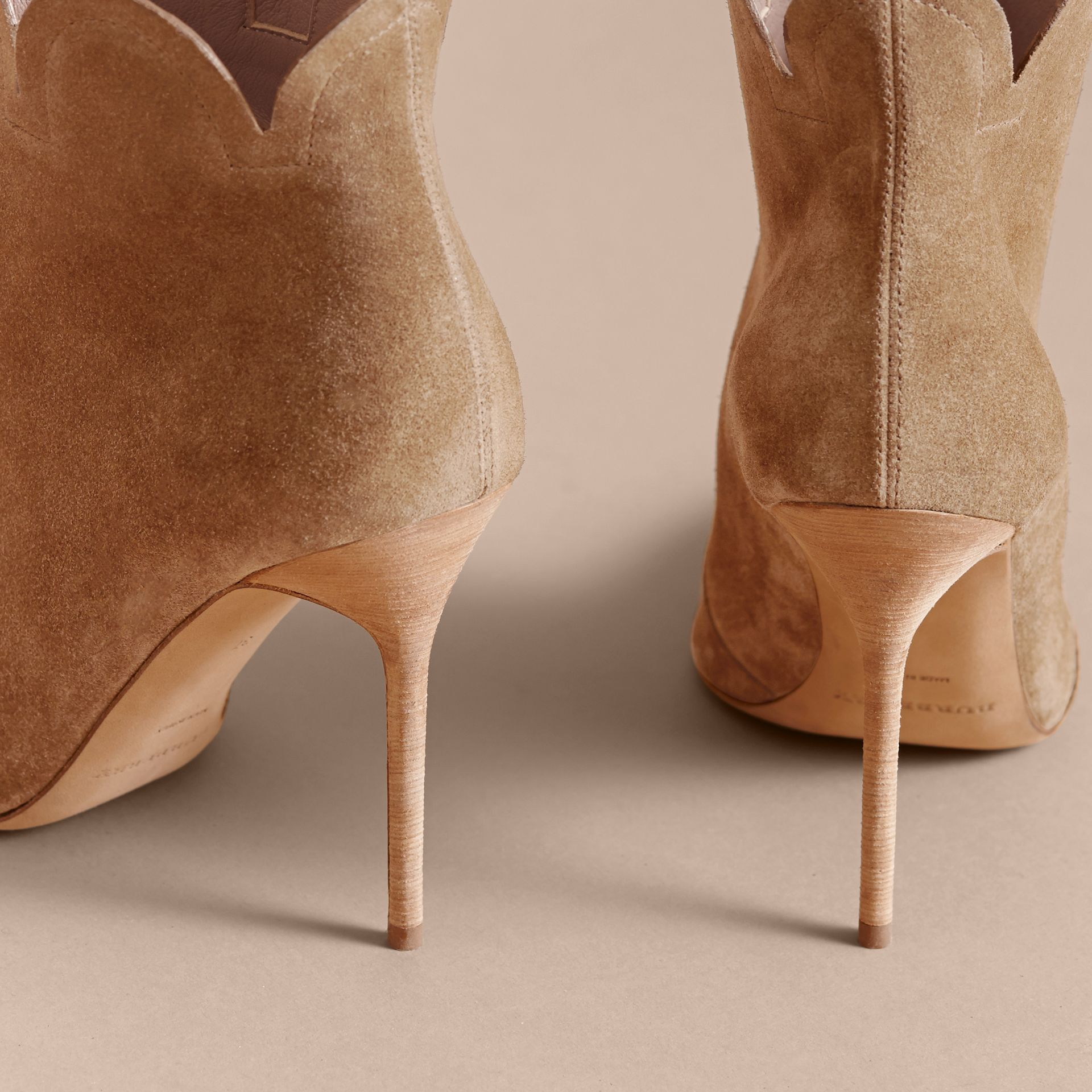Scalloped Suede Ankle Boots in Sandstone - Women | Burberry - gallery image 4
