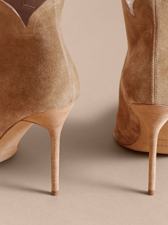 Scalloped Suede Ankle Boots in Sandstone - Women | Burberry - cell image 3